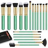 Pennelli Make Up, LEUNG 18 Pezzi Premium synthetic pennelli trucco fondazione cipria fard, ombretto, Set di pennelli make up, Eyeliner, Ombretto, Sopracciglia (Menta verde)