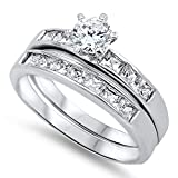 Sterling Silver Custom Engagement Ring Wedding Band Bridal Set Size 12