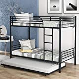 Harper & Bright Designs Twin-Over-Twin Metal Bunk Bed with Trundle, Guard Rails and Removable Ladder for Kids Teens Adults, Heavy Duty Bunk Bed Can be Divided into Two Beds, Black