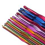 Luxbon 14 Sizes Multi-Coloured Aluminum 2mm-10mm Handle Crochet Hooks...