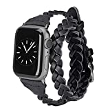 Moolia Double Leather Band Compatible with Apple Watch 38mm 40mm, Women Girls Woven Slim Leather Watch Strap Double Tour Bracelet Replacement for iWatch Series 5 4 3 2 1 (Black, 38mm/40mm)
