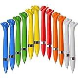 """Ausgefallener Kugelschreiber,Oscar"""" aus Kunststoff - gelb, blau, orange, weiß, rot und grün  blaue Schreibmine  Farbenmix - [12 Stück] Mitgebsel"""