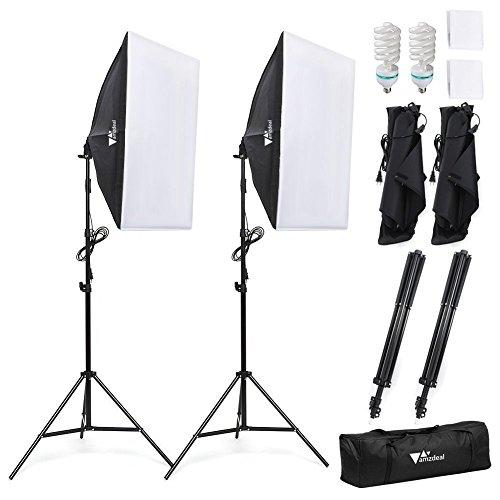 Amzdeal Softbox kit 2 Professionale Illuminazione 1124W, Luce Continua 5500K con 2 x Lampade 50 x...
