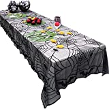 Halloween Tablecloth 48' x 96' Black Lace Bat Spiderweb Table Cover for Halloween Party Decor