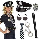 SPECOOL Costume de Policier 6 pièces pour Soirée Déguisée avec Bonnet de...
