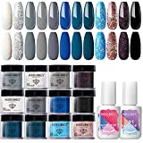 Modelones Dip Powder Nail Kit Starter-12 Colors Ocean Series French Style Quick Drying Dipping Powder with Activator and Base Top Coat 2 in 1, Essential Manicure Nail Dipping System for Salon DIY at Home No Nail Lamp Needed