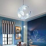 ALLOMN Lámpara Colgante LED, Luz de Techo Lámpara de Hada Luna y Estrellas Lámpara Colgante Dormitorio Araña Gran Regalo para Niño Amigo (Blanco Frio)