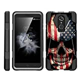 TurtleArmor | Compatible with ZTE Max XL Case | ZTE Blade Max 3 Case | ZTE Max Blue Case [Dynamic Shell] Hybrid Dual Layer Hard Shell Kickstand Silicone Case - US Flag Skull