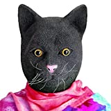 CreepyParty Deluxe Novelty Halloween Costume Party Latex Animal Cat Head Mask Black