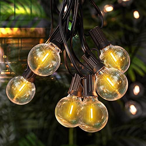 Zorela Catena Luminosa Esterno, 9.5M LED Luci da Esterno Giardino G40 25+2 Lampadine Impermeabile IP44 Catena Luci LED Esterno e Interno per Natale, Giardino, Gazebo, Feste, Matrimonio - Bianco Caldo