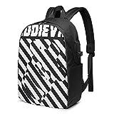 Lawenp Eddievr Fashion Printed USB Mochila Bolso de Hombro de 17 Pulgadas Bolso para portátil Mochila de Moda Negro