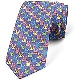 Cravate, lapins intelligents avec des lunettes, violet multicolore