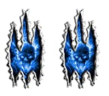 Exploding Skull Blue Rip Ripped Motorcylce sportbike cruiser Vinyl Graphics Stickers Decal Set