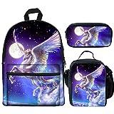 LedBack Galaxy Pegasus Printed School Backpacks for Kids Boy Girls Lightweight Backpack Bookbags Set