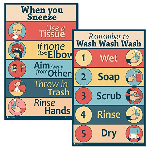 healthy classroom and bathroom Rules 2 signs LAMINATED for sneezing and washing Young N Refined (12x19)