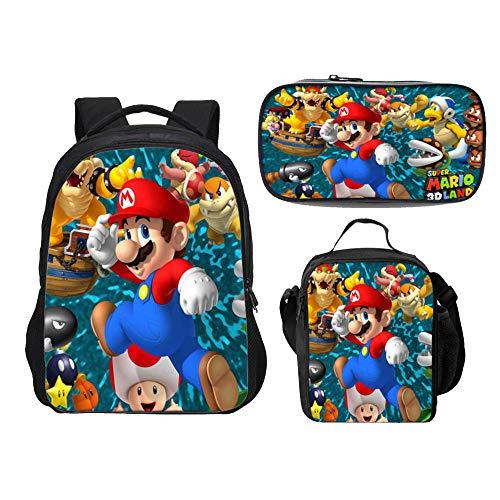 Mochila Super Mario para niños, niñas Adolescentes Mochila Niños Super Mario Bros Mochilas Escolares Bolsas para Almuerzo Estuche para lápices Juego de 3 Piezas