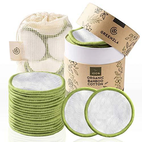 Discos Desmaquillantes Reutilizables Greenzla (20pcs) con bolsa de lavandería lavable y caja redonda para guardarlas |100% algodón de bambú orgánico| Algodones desmaquillantes reutilizables ecológicas