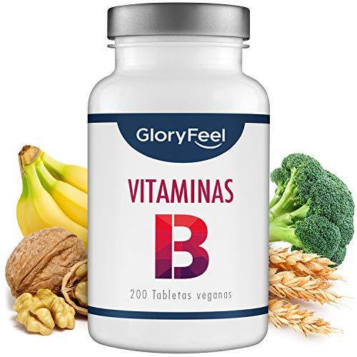 GloryFeel® Vitamina B Complex - 200 tabletas veganas de vitamina B - Dosis altas de 8 Formas de Vitaminas B: B1 B2 B3 B5 B6 B7 (biotina) B9 (acido folico) y B12 - Apoyo inmunologico