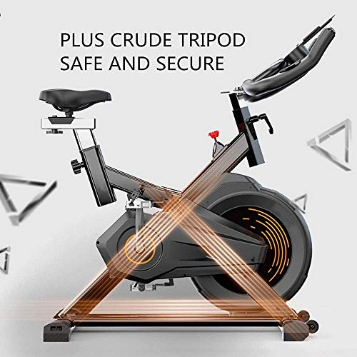 YFFSS Exercise Bike, Indoor Smart Exercise Bike, Home Silent Stationary Bike, Safety Non-Slip Pedal, with Moving Roller and Level Adjuster, Suitable for Offices, Gyms 4