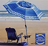 Tommy Bahama 2018 Sand Anchor 7 Feet Beach Umbrella with Tilt and Telescoping Pole (Blue/Palm Tree)