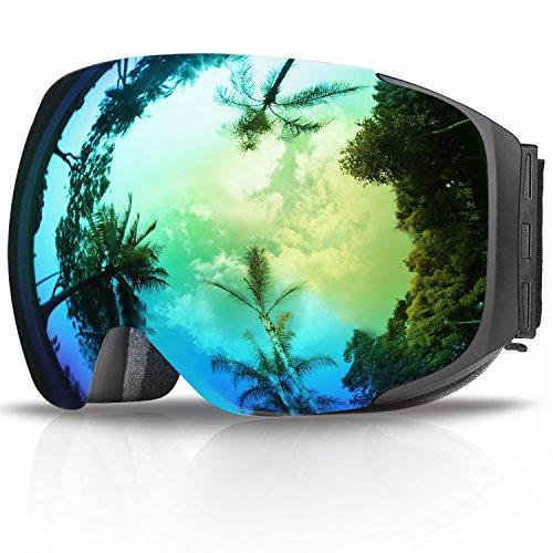 eDriveTech Maschera da Sci, Occhiali da Sci da Donna Uomo Occhiali da Snowboard Anti-UV OTG con Sistema di scambio Magnetico Protezione UV400 Strato Anti-Nebbia Anti-Vento Protezione Accessori da Ski
