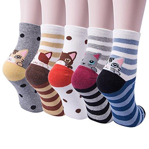 Ysense 5Paia Calzini Donna Divertenti e Calze Donna Termiche e Calze Cotone Fantasia Invernali (cat socks)