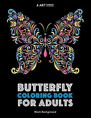 Butterfly Coloring Book For Adults: Black Background...