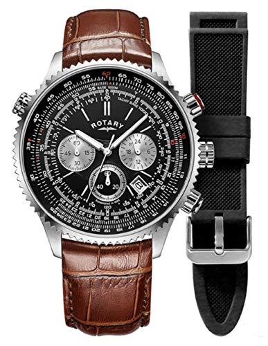 Rotary Herren Piloten | Chronograph | schwarzes Zifferblatt | braunes Lederband GS00100/04/KIT