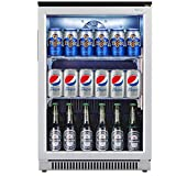 Weili Beverage Refrigerator and Cooler, 20 Inches Wide Under Counter Fridge with Stainless Steel & Glass Door, Auto Defrost, Freestanding or Built in