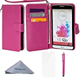 LG G3 Case, Wisdompro Premium PU Leather 2-in-1 Folio Flip Wallet Protective Case Cover Built-in Credit Card Holder Slots and with Wrist Lanyard for LG G3 - Hot Pink(Not fit LG G3 Vigor)