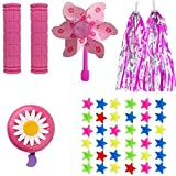 MeiMeiDa Bike Accessories for Kids Girls Bike Bicycle Decorations Including Pink Bike Handlebar Grips, Bike Streamers, Star Bike Wheel Spokes, Flower Bell and Pinwheel