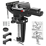 Bench Vise 3.3 Inch Quick Adjustment Home Vise Dual-purpose Combined Universal Bench Clamp Heavy Duty Cast Steel Table Vise with Swivel Base for Woodworking, Drilling, Metalworking