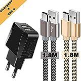 Chargeurs Secteur USB 2 Ports avec câbles USB c 2 Pack, Adaptateur USB...