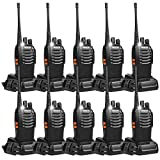 Retevis H-777 Two Way Radio Long Range Walkie Talkies USB Rechargeable LED Flashlight UHF 16CH Emergency 2 Way Radios (Black,10 Pack)