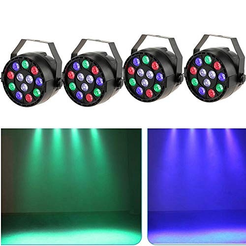 Set di 4 luci da palcoscenico 15 W LED RGB Flat PAR luce DMX illuminazione da palcoscenico 7 canali...