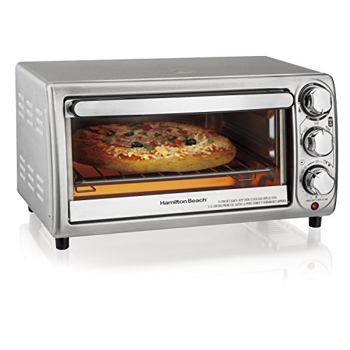 Hamilton Beach 4-Slice Countertop Toaster Oven with Bake Pan, Stainless Steel (31143)