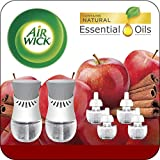Air Wick Plug in Scented Oil Starter Kit, 2 Warmers + 6 Refills, Apple Cinnamon, Holiday scent, Holiday spray, Eco Friendly, Essential Oils, Air Freshener