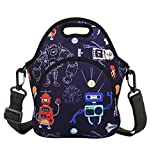 Robots Neoprene Lunch Bag Insulated Waterproof Lunch Tote Thermal Lunch box with Zipper Pocket & Strap for Boys School Mens Work