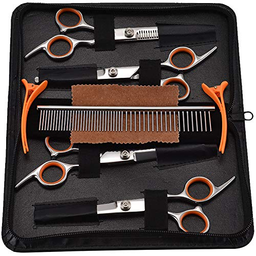 PETTOM Pet Grooming Scissors Set 5-in-1 Dog Grooming Kit Sharp Durable Stainless Steel Safety Round Tip Trimming Long Short-haired Dog Cats other fur pets Salon Cut (Orange)