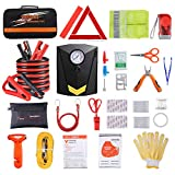 Car Roadside Emergency Kit with Jumper Cables, Auto Vehicle Safety Road Side Assistance Kits, Winter Car Kit for Women and Men, with Portable Air Compressor, First Aid Kit, Tow Rope, etc