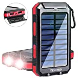 Solar Phone Charger,Yelomin 20000mAh Waterproof Mobile Power Bank,Portable Outdoor Camping Travel External Backup Battery Pack, Panel Charger Dual USB 5V Output 2 LED Light Flashlight with Compass