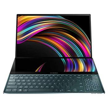 "Asus ZenBook Pro Duo UX581 15.6"" 4K UHD NanoEdge Bezel Touch, Intel Core i7-9750H, 16GB RAM, 1TB PCIe SSD, GeForce RTX 2060, Innovative Screenpad Plus, Windows 10 Pro - UX581GV-XB74T, Celestial Blue"