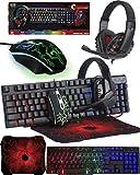Orzly Teclado y Raton Gaming - Combo Ratn y Teclado USB [RGB LED Retroiluminacin], Cascos Gamer, Alfombrilla de Ratn - Para Usuarios PC, Xbox y PS4 [Hornet RX250]