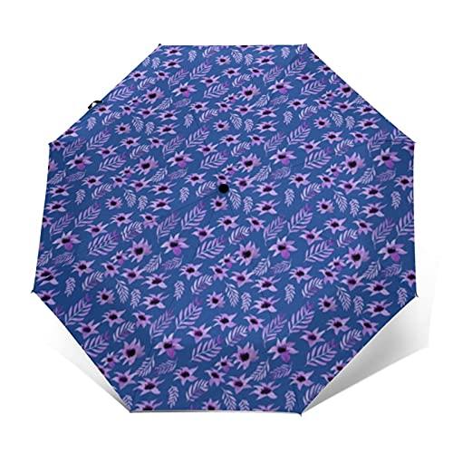 Ombrello da viaggio antivento Scandi Folk Floreale Bianco Auto Aperto Chiudere Leggero Sun & Rain Umbrella