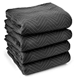 "Sure-Max 4 Moving & Packing Blankets - Ultra Thick Pro - 80"" x 72"" (65 lb/dz Weight) - Professional Quilted Shipping Furniture Pads Black"