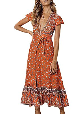 S=US 4-6, M=US 8-10,L=US 12,XL=US 14,XXL=US 16 This maxi features a wrap design, v-neckline,frill hemline and short butterfly sleeves making it an easy-to-wear statement piece; UNLINED. The Waist Tear on the dress for the strap/belt to go through The...