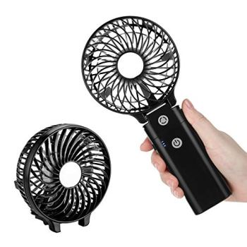 COMLIFE Mini Ventilateur de Poche, Ventilateur de Bureau Pliable, avec Fonction d'Electricité Mobile 5200mAh, Ventilateur USB pour Maison, Bureau, Voyage