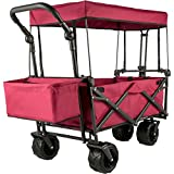 Happybuy Collapsible Wagon Cart Red, Foldable Wagon Cart Removable Canopy 600D Oxford Cloth, Collapsible Wagon Oversized Wheels Portable Folding Wagon Adjustable Handles, for Beach, Garden, Sports