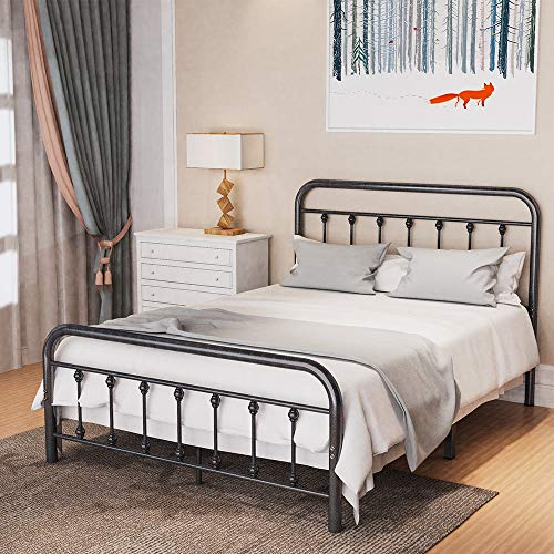 Noillats Metal Bed Frame Full Size with Vintage Headboard and Footboard, Premium Stable Steel Slat Support Mattress Foundation, No Box Spring Needed and Easy Assembly, Gray Black