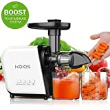 KOIOS Slow Masticating Juicer Extractor Machines 60 dB, Reverse Function & 7 Level Longer Spiral System, BPA-Free, Cold Press Juicer Machines with Brush, Creates High Nutrient Fruit and Veggies Juice